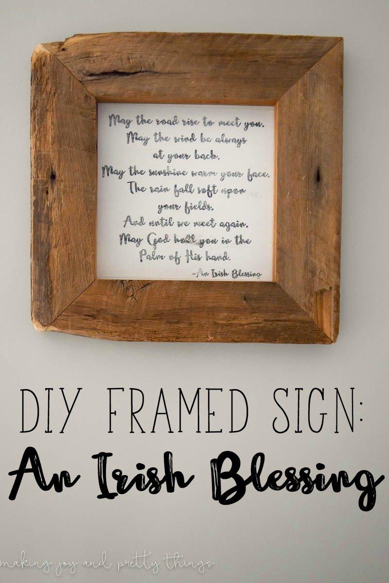 DIY Irish Blessing Framed Sign