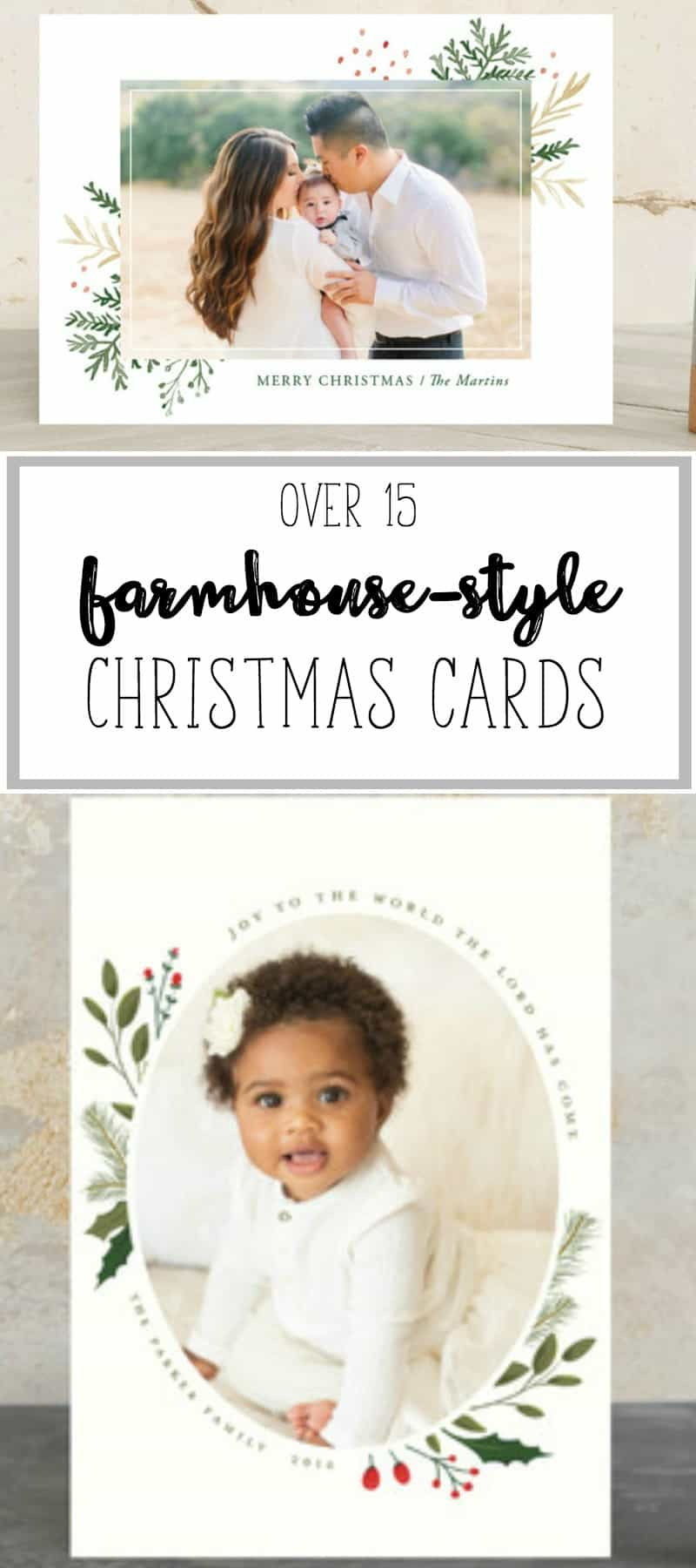 Farmhouse-style Christmas Cards and Holiday Cards and gifts. Farmhouse style. Christmas gifts. Rustic. Fixer upper.