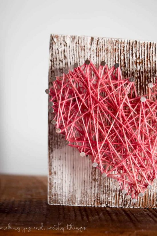 Rustic Barn Wood String Art Heart | string art ideas | string art DIY