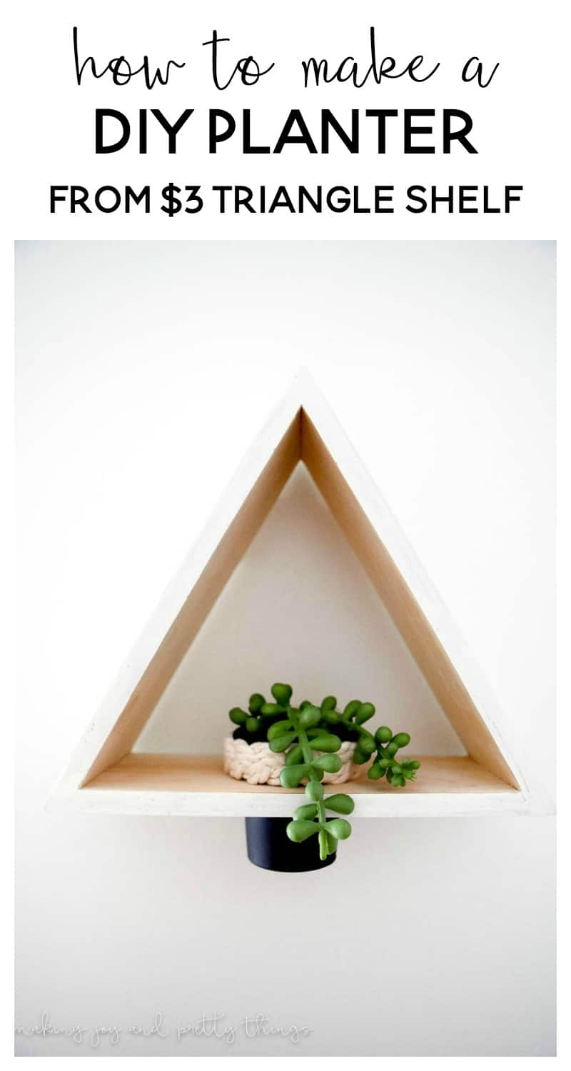 DIY Triangle Shelf Planter using a $3 Dollar Store Shelf and old play-doh container. Dollar store craft   DIY craft   upcycle   planter ideas   succulents