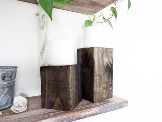 diy home decor | diy crafts | candle holders | diy room decor | candle holders diy | candle holder ideas | wood block candle holders | farmhouse style | farmhouse decor | open shelves | open shelving
