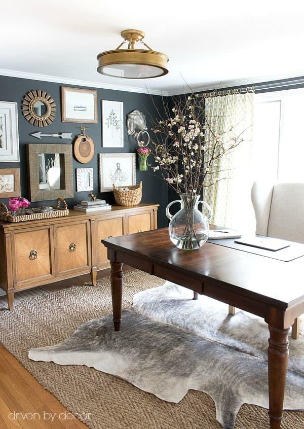 Home Office Desk Jute Herringbone Rug Cowhide