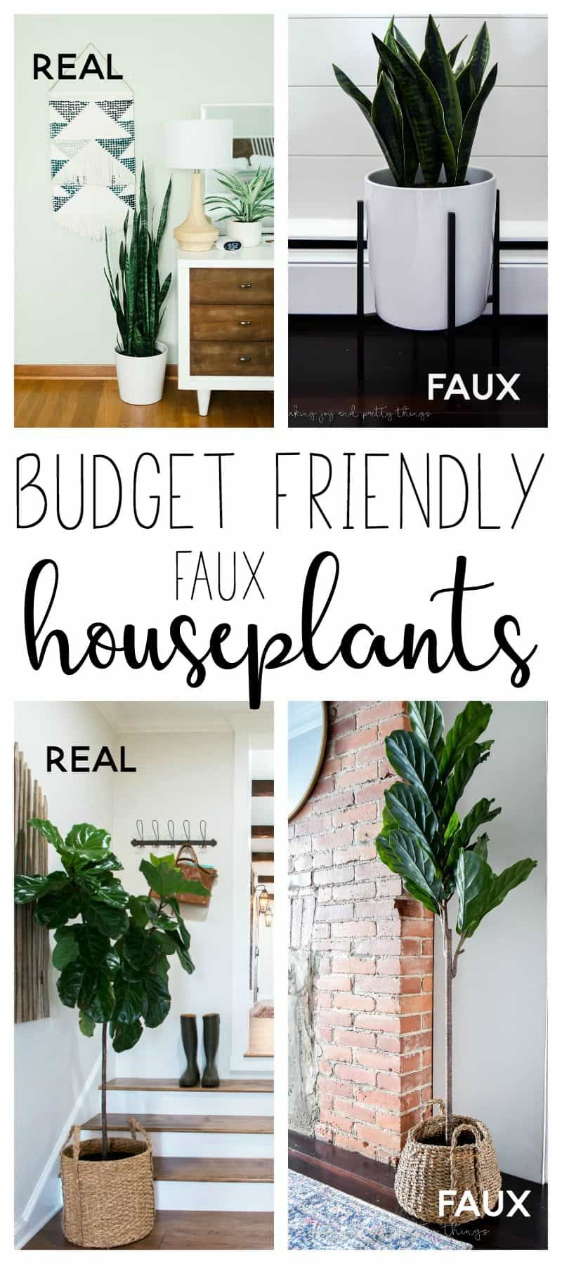 faux house plants | houseplants indoor | fiddle leaf fig tree | snake plant | sansevieria | indoor plants | budget friendly faux plants | house plants decor | home decor ideas | home decor on a budget | home style | favorite faux houseplants