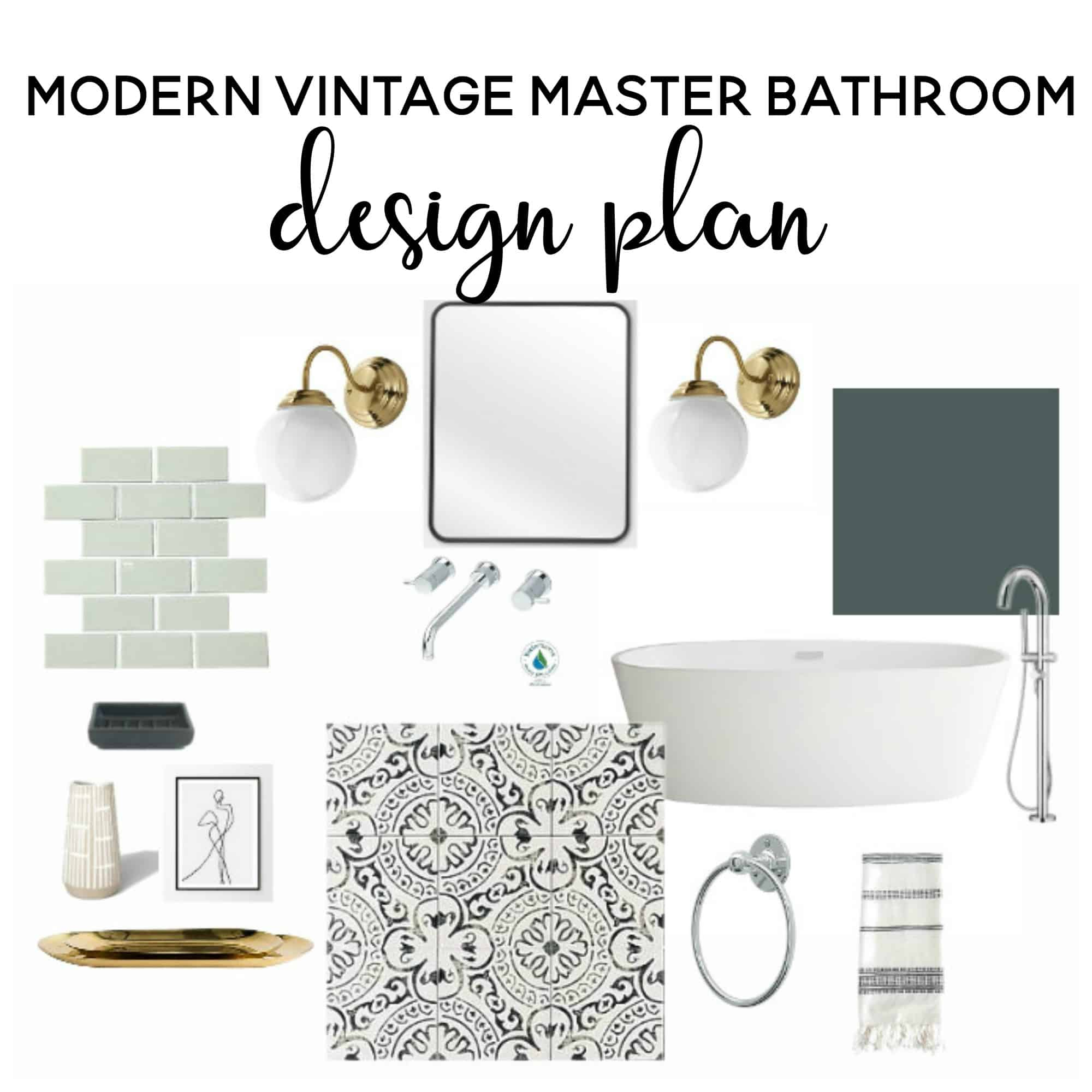 modern vintage master bathroom design plan | bathroom ideas | bathroom remodel | bathroom decor | master bathroom remodel | renovating on a budget | modern vintage bathroom | bathroom design ideas | bathroom design small | attic bathroom | bathroom ideas