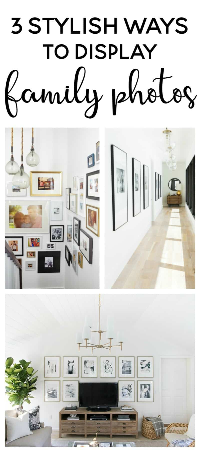 3 stylish ways to display family photos | gallery wall ideas | diy gallery wall | family picture ideas | home decor ideas | decorating | eclectic gallery wall | grid style gallery wall | oversized photos | engineer prints | gallery wall ideas