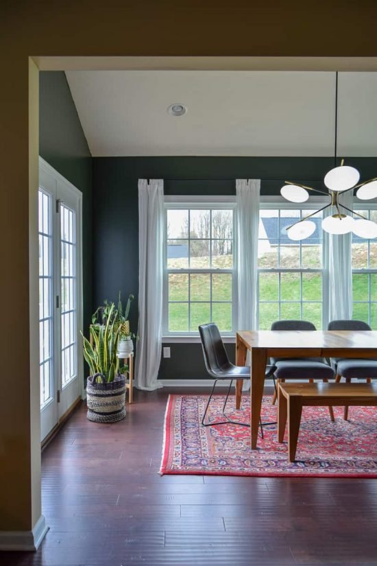 modern dining room reveal   mid-century modern dining room   dark paint   dining room ideas   dining room renovation   #diningroom #modern #diy #renovation #midcentury