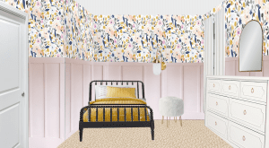 Sharing all the design plans for Evie's big girl room! Toddler girl rooms are so fun to decorate. We're using flower wallpaper, DIY board and batten, an IKEA dresser hack, and a vintage Jenny Lind bed! So many toddler girl bedroom ideas and big girl room inspiration and ideas! #toddlerroom #girlroom #biggirlroom