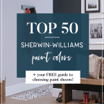 Top 50 Sherwin-Williams Paint Colors. Looking for paint colors for the home? Today I'm sharing the top 50 best selling Sherwin-Williams paint colors including their number 1 best seller - agreeable gray! There are farmhouse paint colors and Greige paint colors as well as their best selling blue paint colors, gray paint colors, and green paint colors. PLUS, I've included by guide to choosing paint sheens for free! #paintcolors #howtochoosepaint