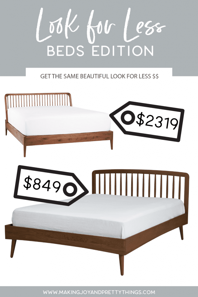 It's time to get the look for less home decor!  Looking for budget friendly beds that doesn't break the bank but is still beautiful?  So if you're looking for bedroom ideas for your master bedroom or guest room and want a beautiful bed or bedframe but want to not spend a fortune, this is for you.  Home decor and interior decorating doesn't have to be so expensive.  It's time to save on home decor and beds for your home and for your renovation.  #beds #lookforless #homedecor #interiordecorating #bedroom
