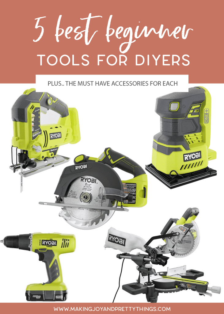 Today I'm sharing the 5 best beginner tools for diyers and beginner woodworking.  It can be overwhelming starting a new DIY project and you don't know which beginner woodworking tools you need.  Well, after years of DIYing, we've amassed quite a tool collection.  Luckily, we know which tools for woodworking you need when you're looking for beginner tools for woodworking.  #tools #woodworking #beginnerwoodworking #diyer