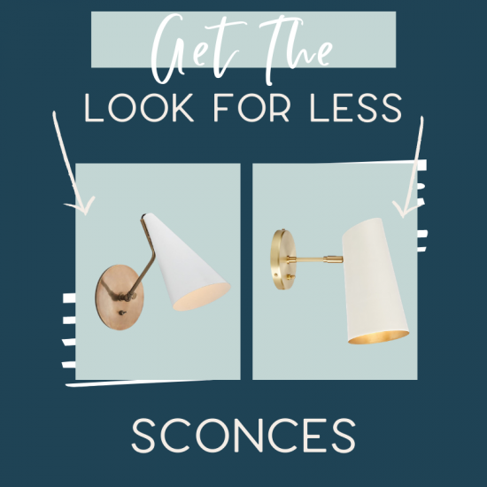 It's time for another edition of get the look for less and today I'm sharing look for less sconces! You can have a beautiful stylish home without breaking the bank! Find a beautiful sconce at a budget friendly price. These sconces would be perfect in your hallway or entryway. You don't have to break the bank to have a beautiful home. Find bedroom sconces, bathroom sconces, and hallway sconces. If you're looking for light ideas, this is for you! #sconce #lights #lighting #sconces